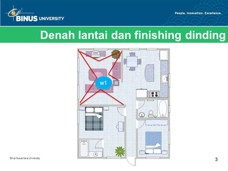 Bina Nusantara University 3 Denah lantai dan finishing dinding w1
