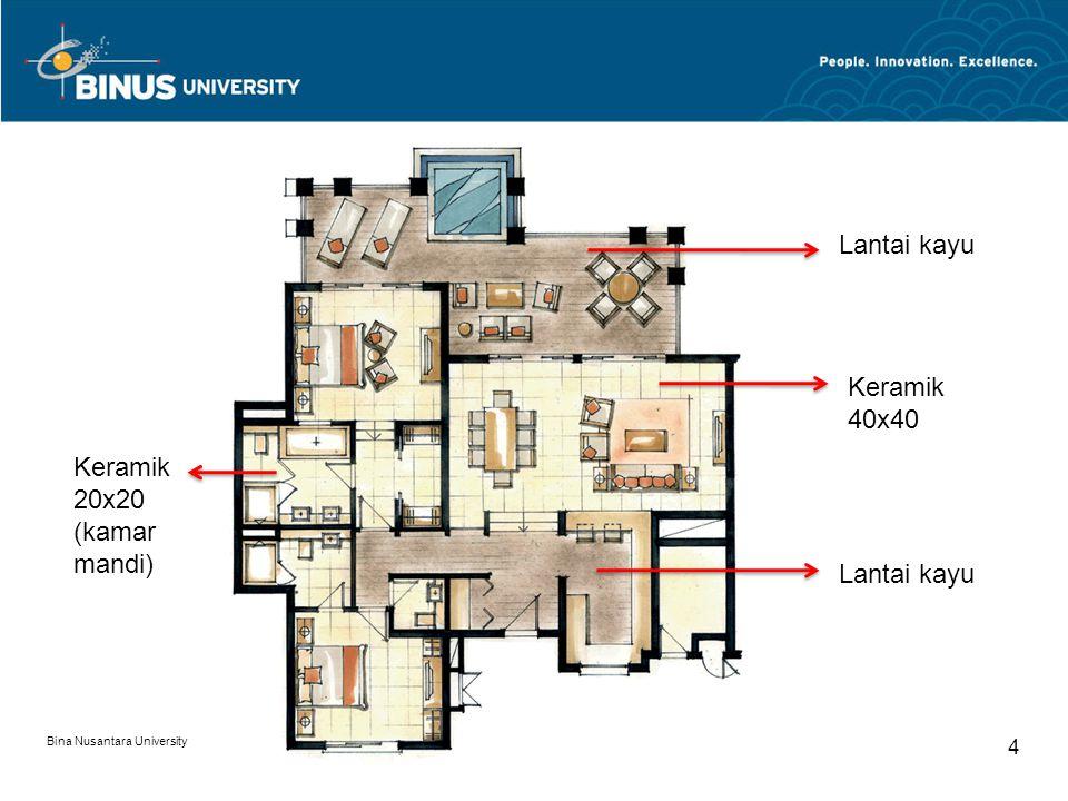 Bina Nusantara University 4 Lantai kayu Keramik 40x40 Lantai kayu Keramik 20x20 (kamar mandi)