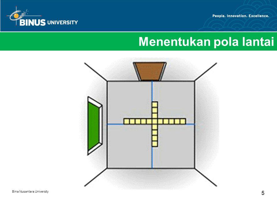 Menentukan pola lantai Bina Nusantara University 5