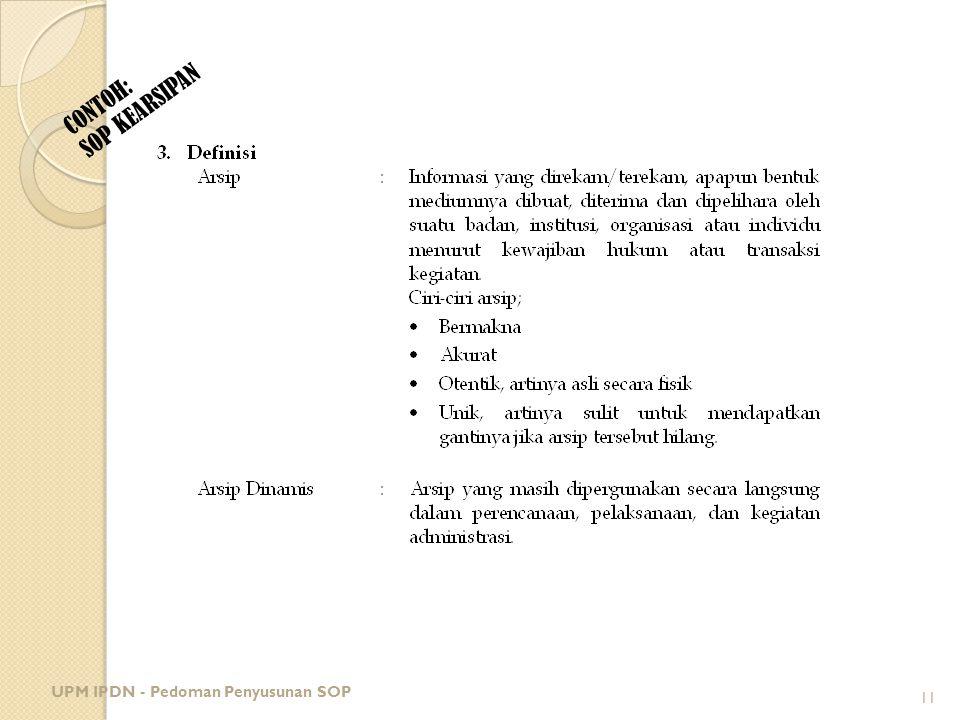 CONTOH: SOP KEARSIPAN UPM IPDN - Pedoman Penyusunan SOP 11