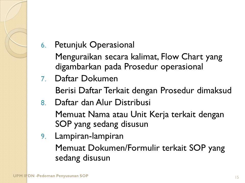 6. Petunjuk Operasional Menguraikan secara kalimat, Flow Chart yang digambarkan pada Prosedur operasional 7. Daftar Dokumen Berisi Daftar Terkait deng