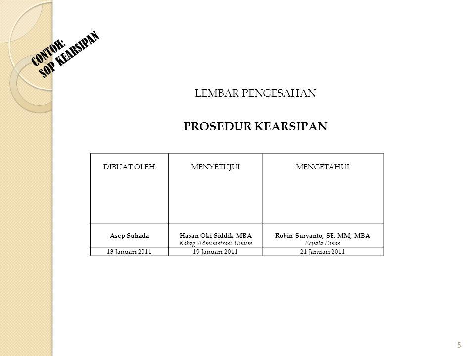 Halaman Selanjutnya Daftar Isi Daftar Isi merupakan gambaran dari unsur-unsur SOP yang dijelaskan nomor halamannya.