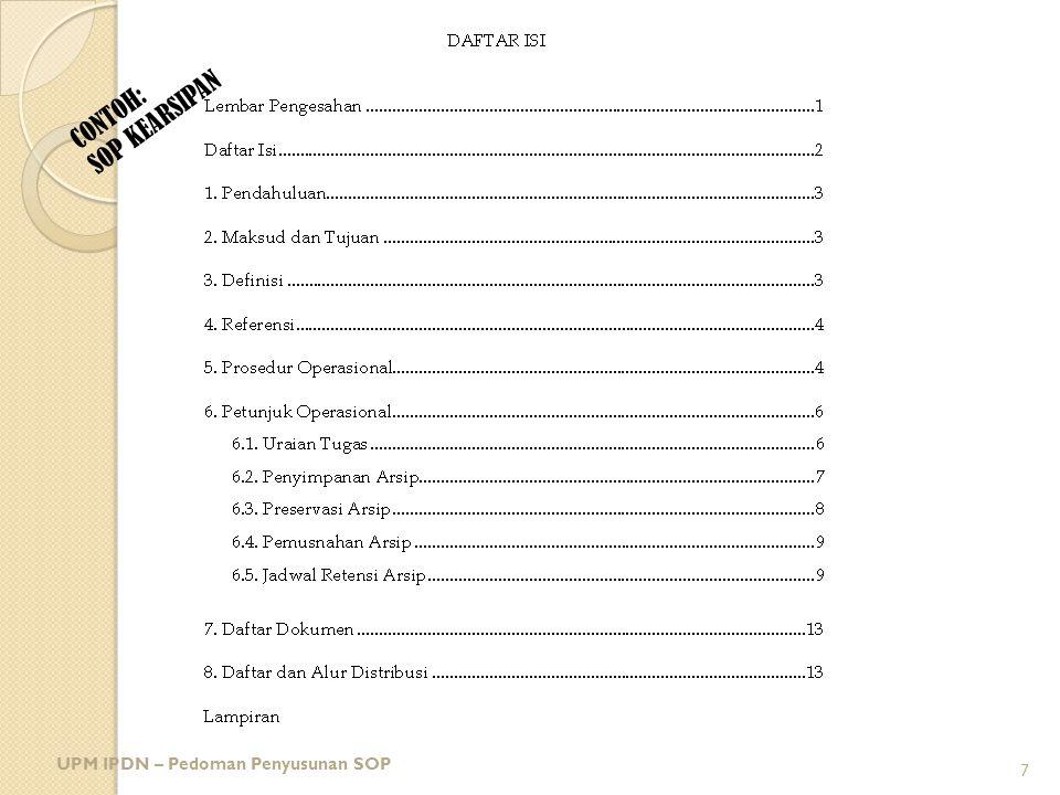 CONTOH: SOP KEARSIPAN UPM IPDN – Pedoman Penyusunan SOP 7