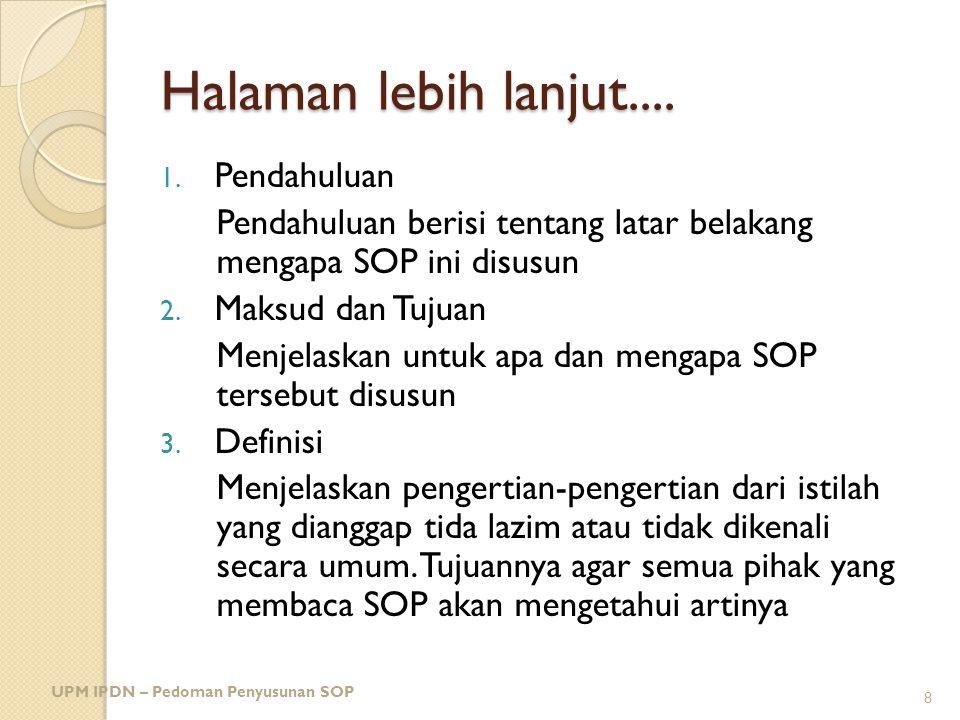 CONTOH: SOP KEARSIPAN UPM IPDN -Pedoman Penyusunan SOP 19