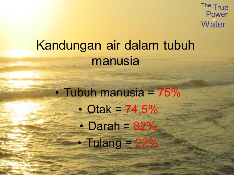 The True Power Water of Kandungan air dalam tubuh manusia Tubuh manusia = 75% Otak = 74,5% Darah = 82% Tulang = 22%