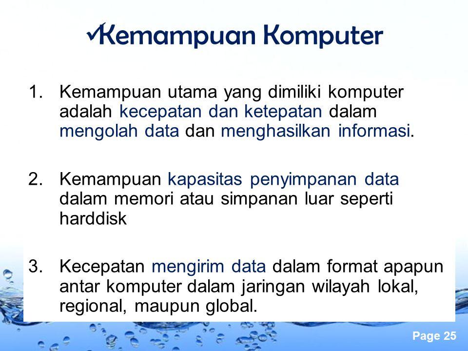 Page 25 1.Kemampuan utama yang dimiliki komputer adalah kecepatan dan ketepatan dalam mengolah data dan menghasilkan informasi. 2.Kemampuan kapasitas