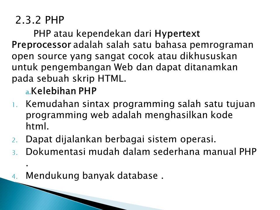 2.3.2 PHP PHP atau kependekan dari Hypertext Preprocessor adalah salah satu bahasa pemrograman open source yang sangat cocok atau dikhususkan untuk pe
