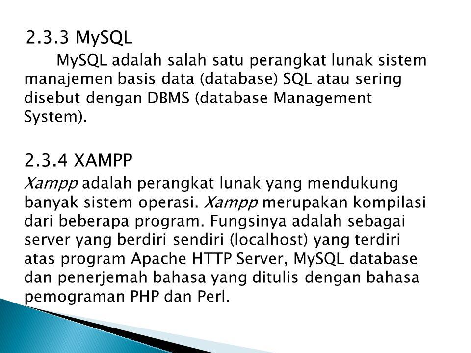 2.3.3 MySQL MySQL adalah salah satu perangkat lunak sistem manajemen basis data (database) SQL atau sering disebut dengan DBMS (database Management Sy