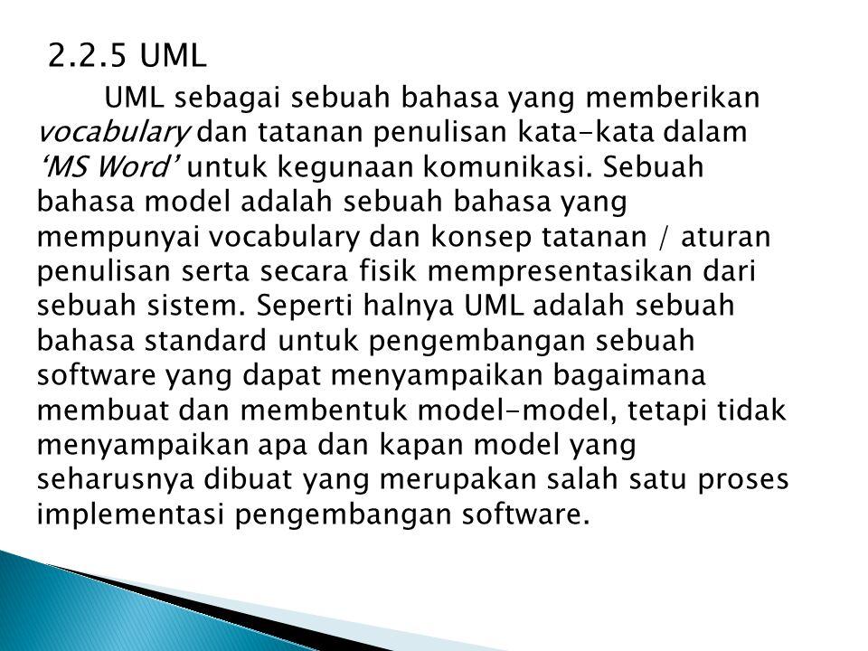 2.2.5 UML UML sebagai sebuah bahasa yang memberikan vocabulary dan tatanan penulisan kata-kata dalam 'MS Word' untuk kegunaan komunikasi. Sebuah bahas