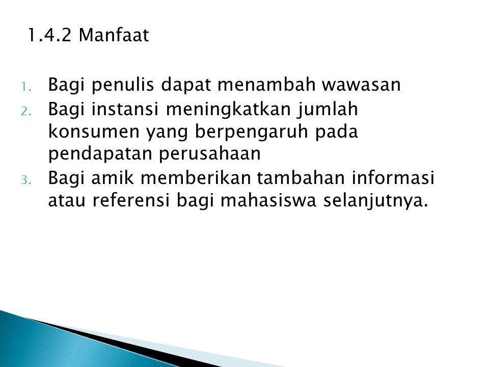 1.4.2 Manfaat 1. Bagi penulis dapat menambah wawasan 2. Bagi instansi meningkatkan jumlah konsumen yang berpengaruh pada pendapatan perusahaan 3. Bagi