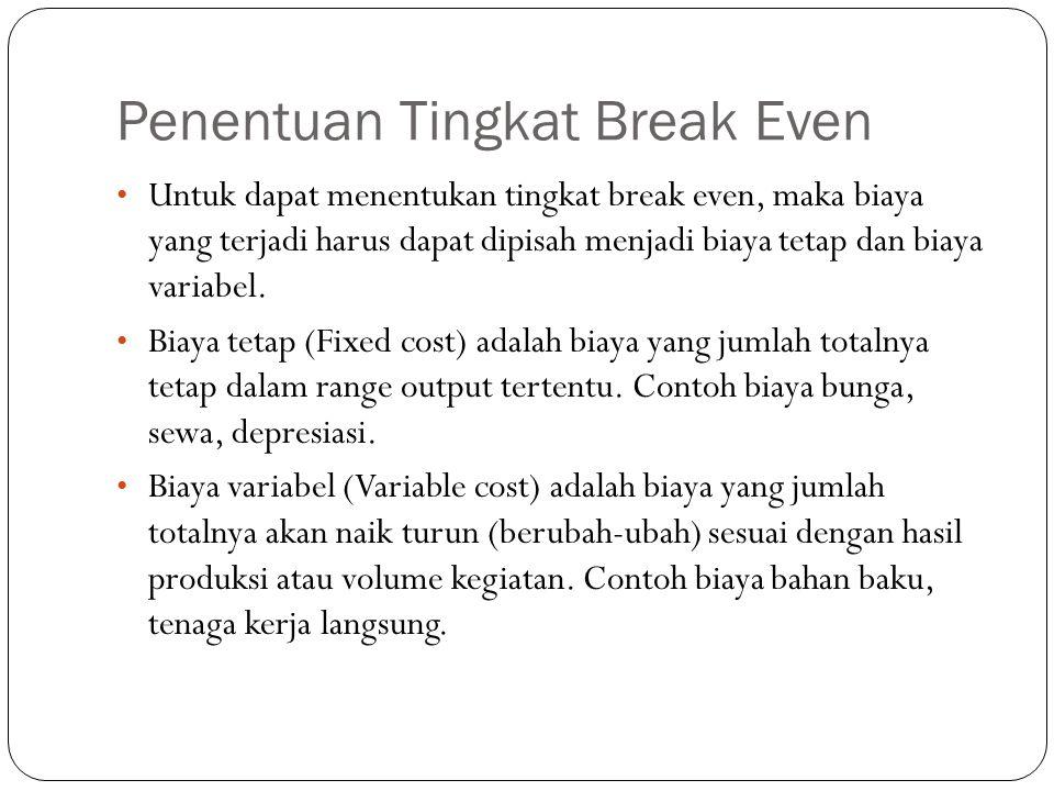 Penentuan Tingkat Break Even Untuk dapat menentukan tingkat break even, maka biaya yang terjadi harus dapat dipisah menjadi biaya tetap dan biaya vari