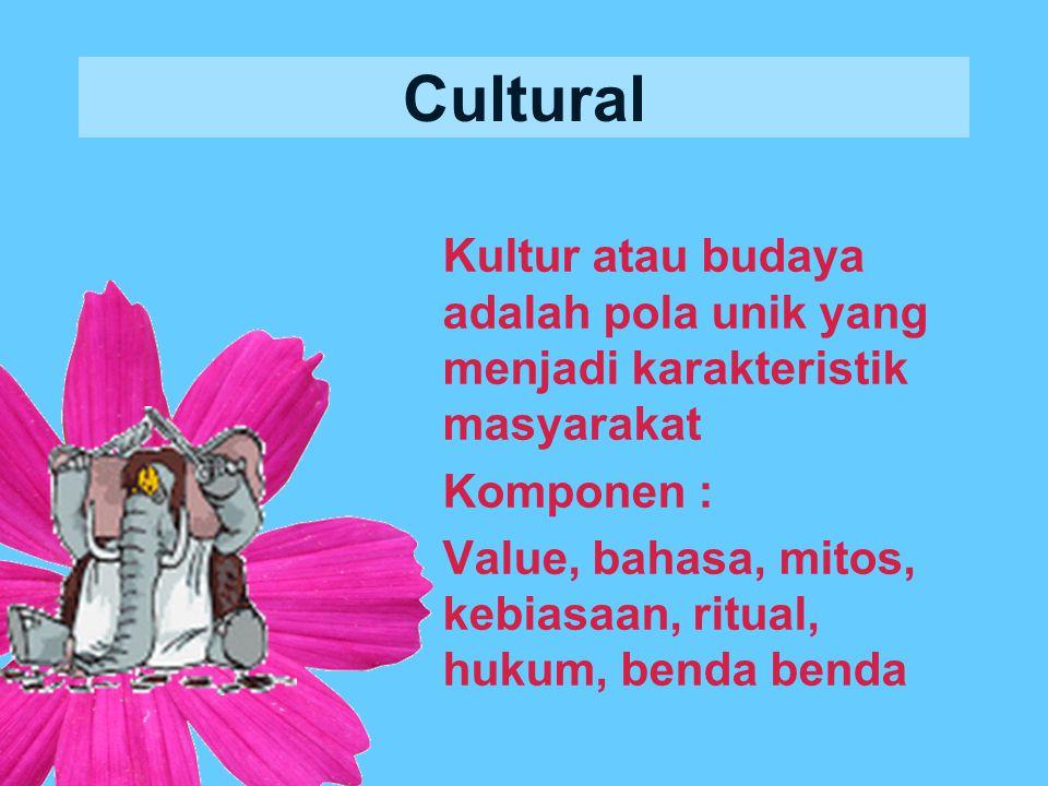 Cultural Kultur atau budaya adalah pola unik yang menjadi karakteristik masyarakat Komponen : Value, bahasa, mitos, kebiasaan, ritual, hukum, benda benda