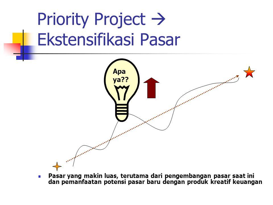 Priority Project  Ekstensifikasi Pasar Pasar yang makin luas, terutama dari pengembangan pasar saat ini dan pemanfaatan potensi pasar baru dengan produk kreatif keuangan Apa ya