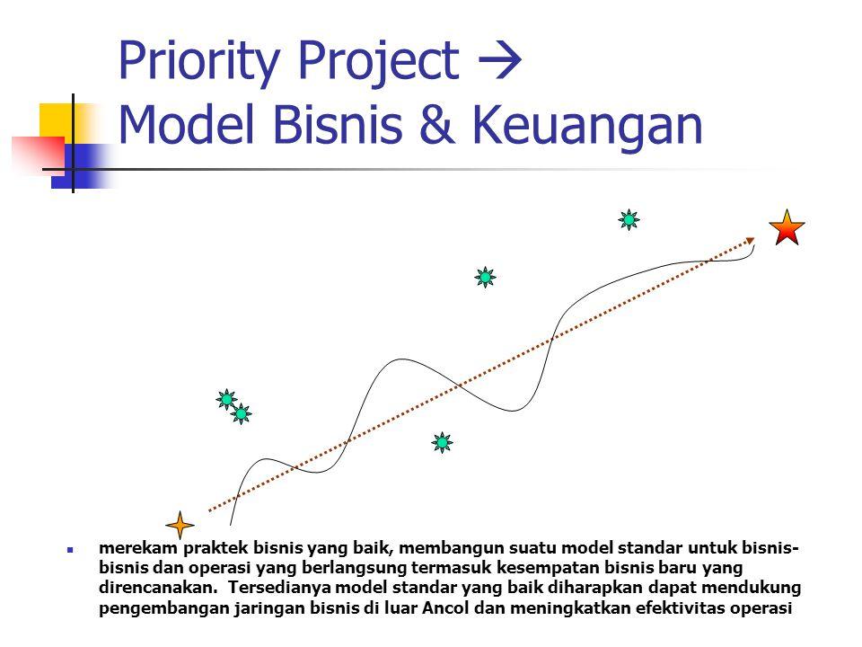 Priority Project  Model Bisnis & Keuangan merekam praktek bisnis yang baik, membangun suatu model standar untuk bisnis- bisnis dan operasi yang berlangsung termasuk kesempatan bisnis baru yang direncanakan.