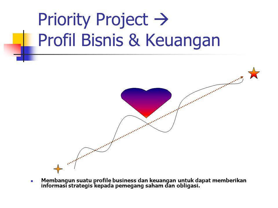 Priority Project  Profil Bisnis & Keuangan Membangun suatu profile business dan keuangan untuk dapat memberikan informasi strategis kepada pemegang saham dan obligasi.