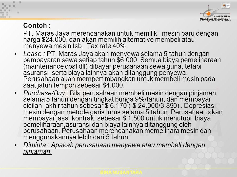BINA NUSANTARA Contoh : PT. Maras Jaya merencanakan untuk memiliki mesin baru dengan harga $24.000, dan akan memilih alternative membeli atau menyewa