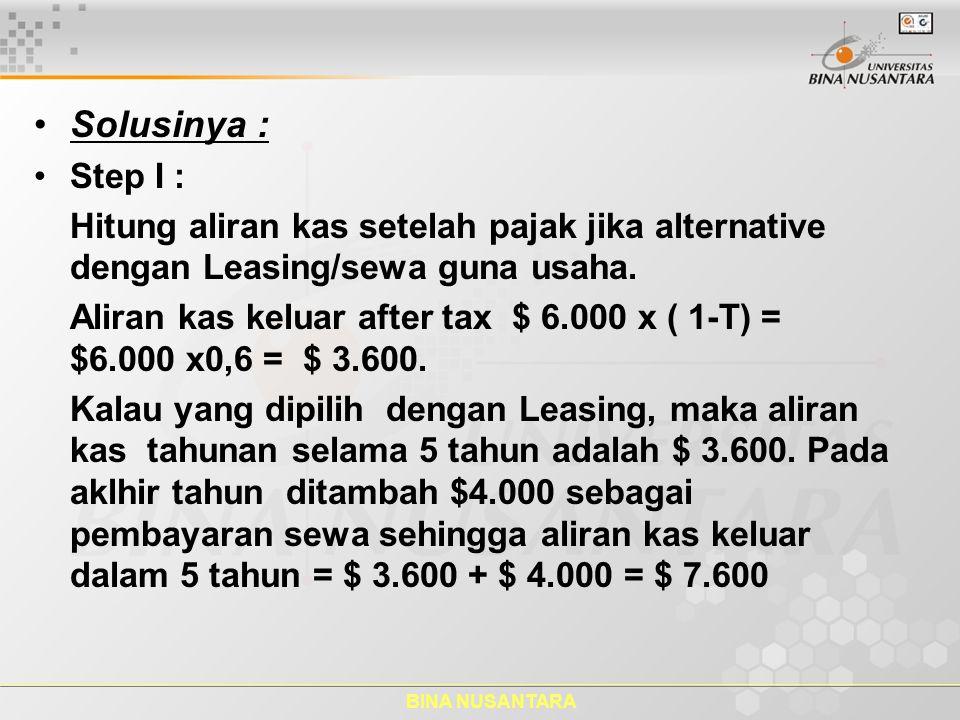 BINA NUSANTARA Solusinya : Step I : Hitung aliran kas setelah pajak jika alternative dengan Leasing/sewa guna usaha. Aliran kas keluar after tax $ 6.0