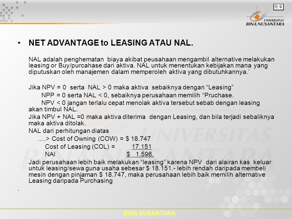 BINA NUSANTARA NET ADVANTAGE to LEASING ATAU NAL. NAL adalah penghematan biaya akibat peusahaan mengambil alternative melakukan leasing or Buy/purcaha