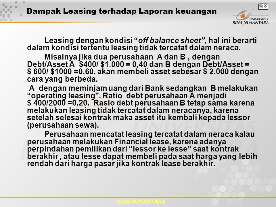"""BINA NUSANTARA Dampak Leasing terhadap Laporan keuangan Leasing dengan kondisi """"off balance sheet"""", hal ini berarti dalam kondisi tertentu leasing tid"""