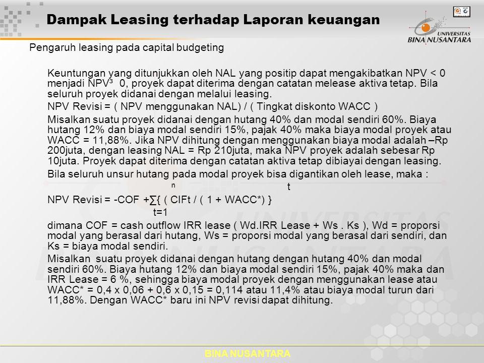 BINA NUSANTARA Dampak Leasing terhadap Laporan keuangan Pengaruh leasing pada capital budgeting Keuntungan yang ditunjukkan oleh NAL yang positip dapa