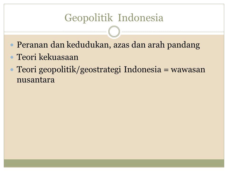 Geopolitik Indonesia Peranan dan kedudukan, azas dan arah pandang Teori kekuasaan Teori geopolitik/geostrategi Indonesia = wawasan nusantara