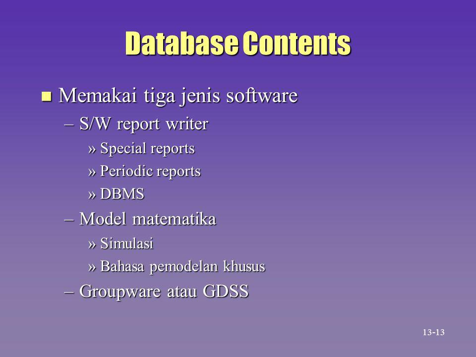 Database Contents n Memakai tiga jenis software –S/W report writer »Special reports »Periodic reports »DBMS –Model matematika »Simulasi »Bahasa pemode