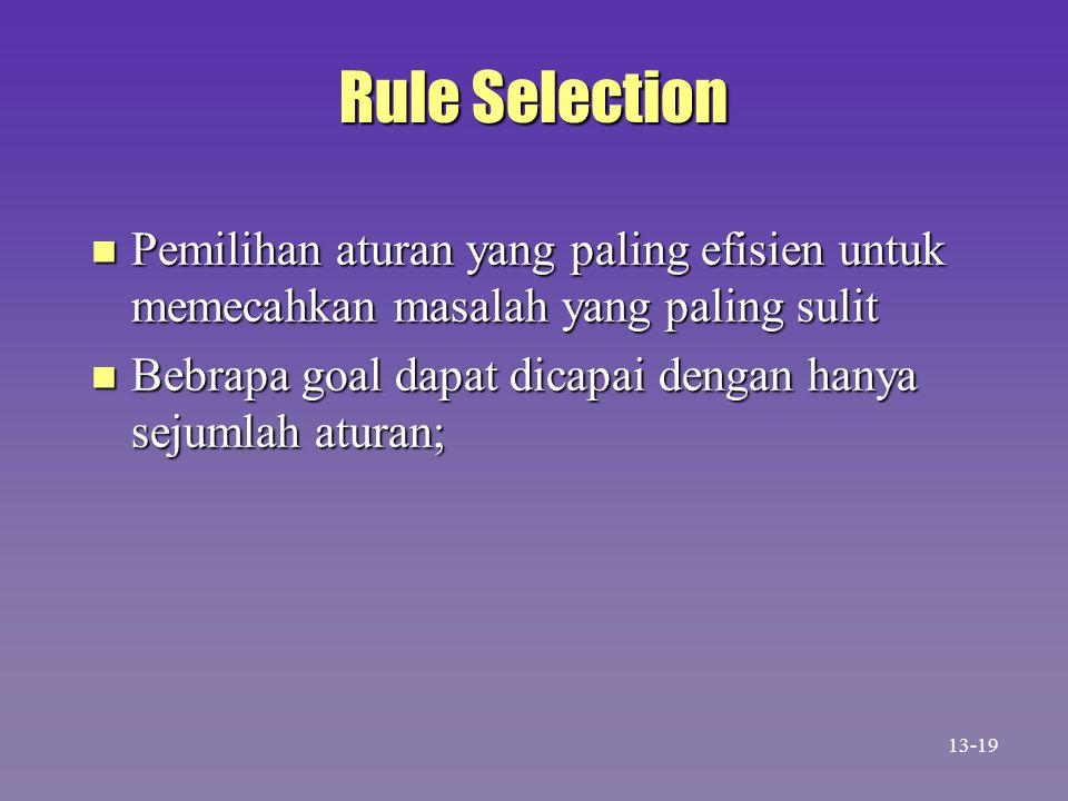 Rule Selection n Pemilihan aturan yang paling efisien untuk memecahkan masalah yang paling sulit n Bebrapa goal dapat dicapai dengan hanya sejumlah at