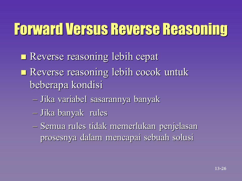 Forward Versus Reverse Reasoning n Reverse reasoning lebih cepat n Reverse reasoning lebih cocok untuk beberapa kondisi –Jika variabel sasarannya bany