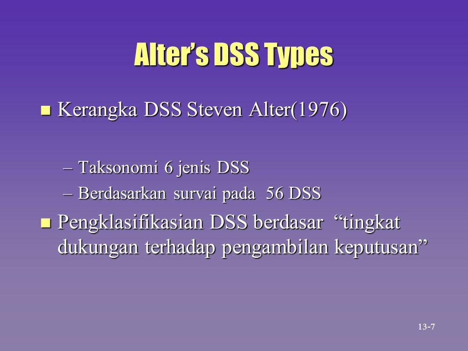 Levels of Alter's DSSs n Level of problem-solving support from lowest to highest –Mengambil elemen-2 informasi –Menganalisa emua file –Menyiapkan report dari berbagai file –Memperkirakan akibat keputusan –Mengusulkan keputusan –Membuat keputusan 13-8