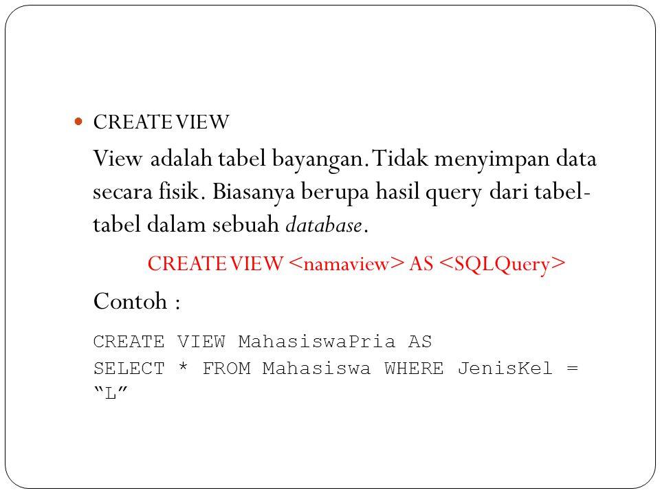 CREATE VIEW View adalah tabel bayangan.Tidak menyimpan data secara fisik.