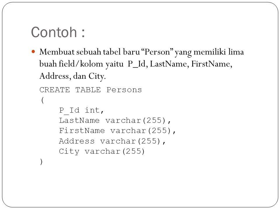 Contoh : Membuat sebuah tabel baru Person yang memiliki lima buah field/kolom yaitu P_Id, LastName, FirstName, Address, dan City.