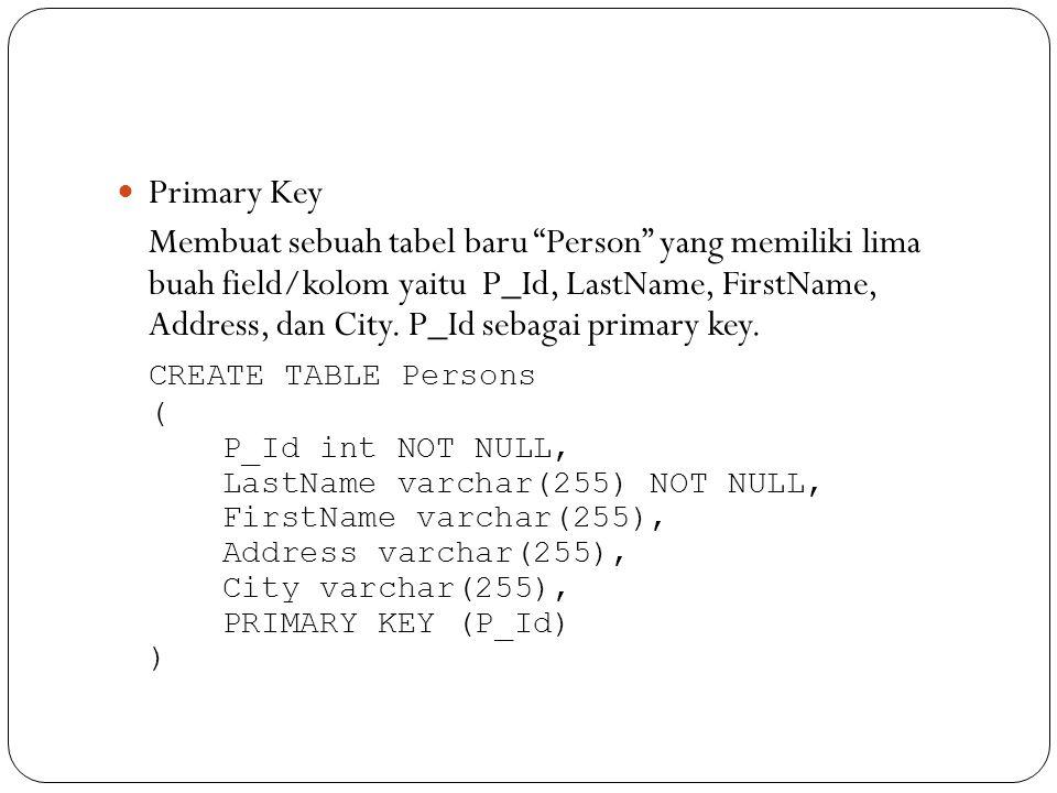 Syntax dalam pendeklarasian foreign key FOREIGN KEY [name] (column1) REFERENCES table2 (column2) [ON DELETE {CASCADE | SET NULL | NO ACTION | RESTRICT}] [ON UPDATE {CASCADE | SET NULL | NO ACTION | RESTRICT}]