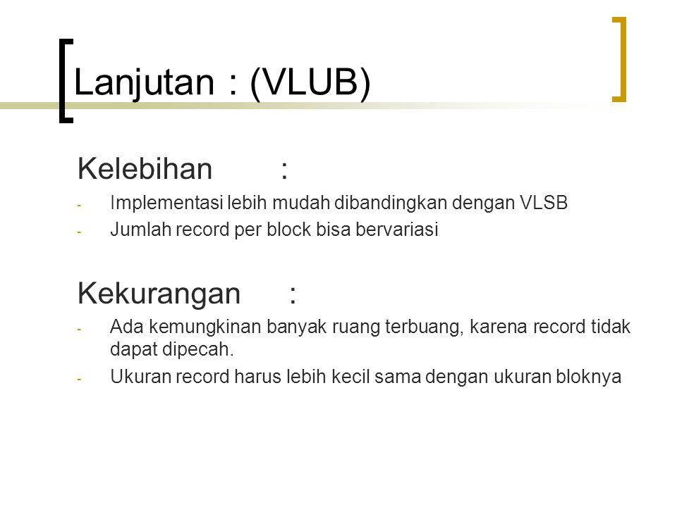 Lanjutan : (VLUB) Kelebihan : - Implementasi lebih mudah dibandingkan dengan VLSB - Jumlah record per block bisa bervariasi Kekurangan : - Ada kemungkinan banyak ruang terbuang, karena record tidak dapat dipecah.