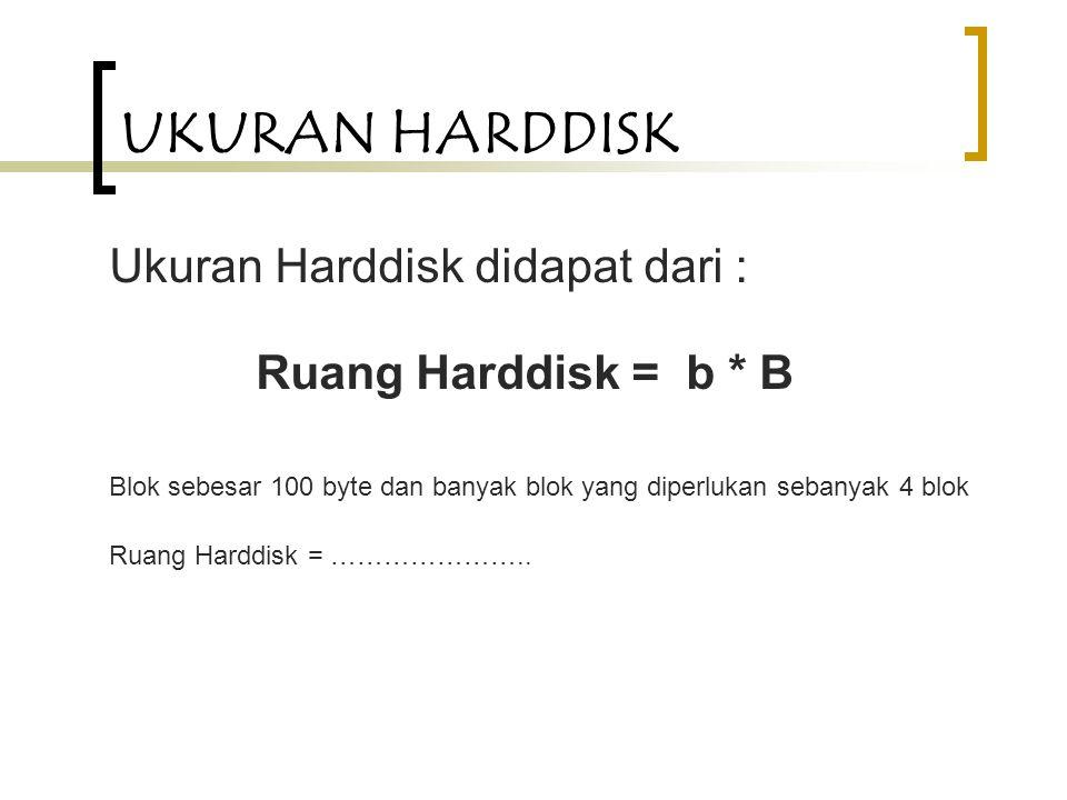 UKURAN HARDDISK Ukuran Harddisk didapat dari : Ruang Harddisk = b * B Blok sebesar 100 byte dan banyak blok yang diperlukan sebanyak 4 blok Ruang Harddisk = …………………..