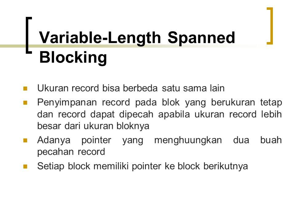 Variable-Length Spanned Blocking Ukuran record bisa berbeda satu sama lain Penyimpanan record pada blok yang berukuran tetap dan record dapat dipecah apabila ukuran record lebih besar dari ukuran bloknya Adanya pointer yang menghuungkan dua buah pecahan record Setiap block memiliki pointer ke block berikutnya