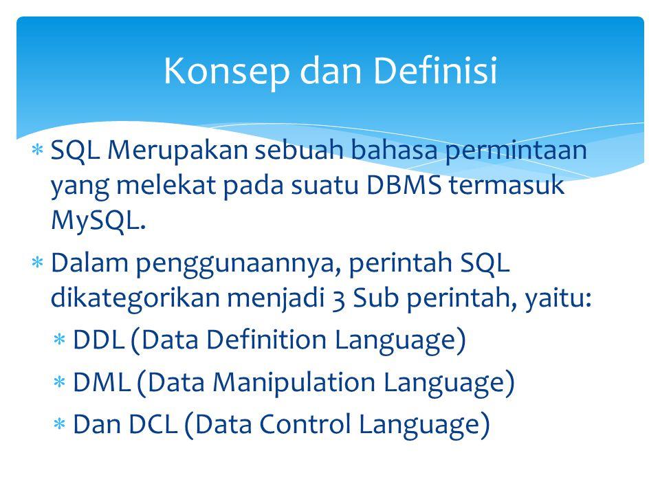 DROP  Menghapus Kolom Tabel:  ALTER TABLE nama_tabel DROP nama_kolom;  Menghapus Tabel secara keseluruhan:  DROP Table nama_tabel;  Menghapus Database:  DROP database nama_database; DDL (Data Definition Language)