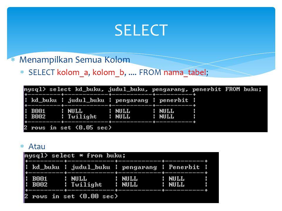  Menampilkan Semua Kolom  SELECT kolom_a, kolom_b,.... FROM nama_tabel;  Atau SELECT