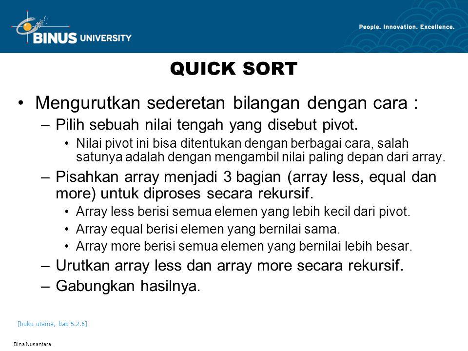 Bina Nusantara QUICK SORT Mengurutkan sederetan bilangan dengan cara : –Pilih sebuah nilai tengah yang disebut pivot.
