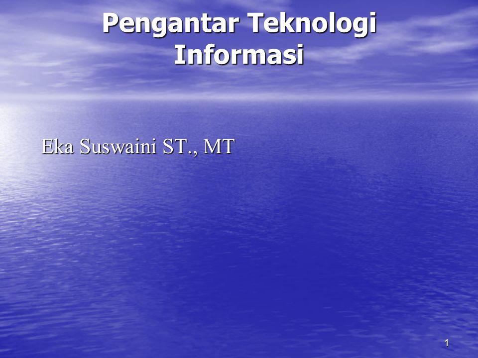 1 Pengantar Teknologi Informasi Eka Suswaini ST., MT