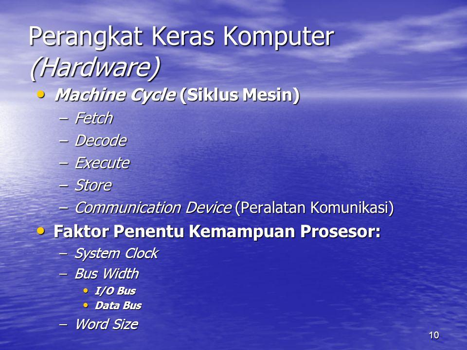 10 Perangkat Keras Komputer (Hardware) Machine Cycle (Siklus Mesin) Machine Cycle (Siklus Mesin) –Fetch –Decode –Execute –Store –Communication Device