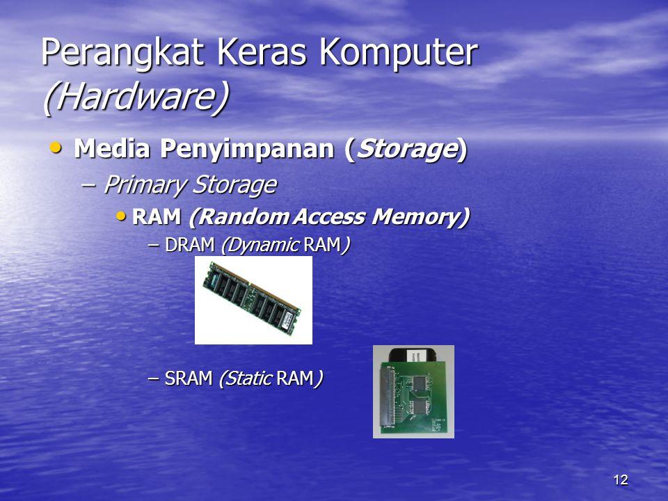 12 Perangkat Keras Komputer (Hardware) Media Penyimpanan (Storage) Media Penyimpanan (Storage) –Primary Storage RAM (Random Access Memory) RAM (Random