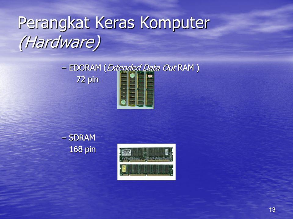 13 Perangkat Keras Komputer (Hardware) –EDORAM (Extended Data Out RAM ) 72 pin –SDRAM 168 pin