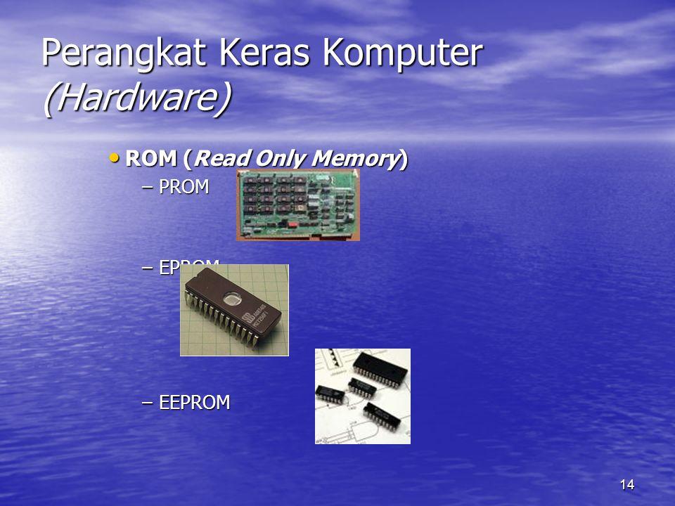 14 Perangkat Keras Komputer (Hardware) ROM (Read Only Memory) ROM (Read Only Memory) –PROM –EPROM –EEPROM