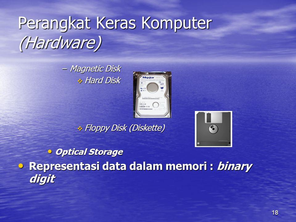 18 Perangkat Keras Komputer (Hardware) –Magnetic Disk  Hard Disk  Floppy Disk (Diskette) Optical Storage Optical Storage Representasi data dalam mem
