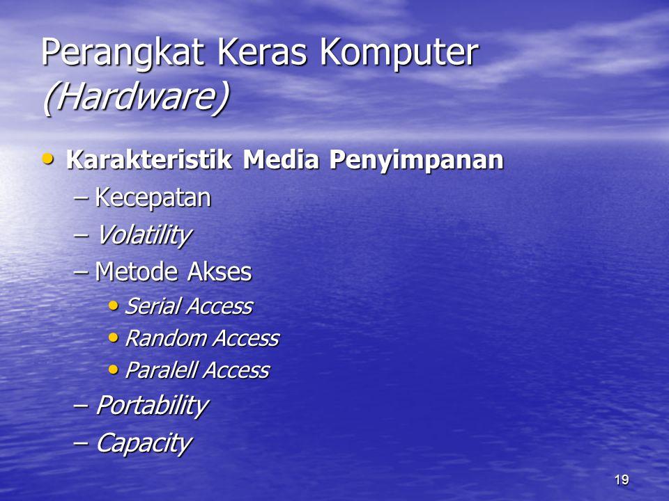 19 Perangkat Keras Komputer (Hardware) Karakteristik Media Penyimpanan Karakteristik Media Penyimpanan –Kecepatan –Volatility –Metode Akses Serial Acc