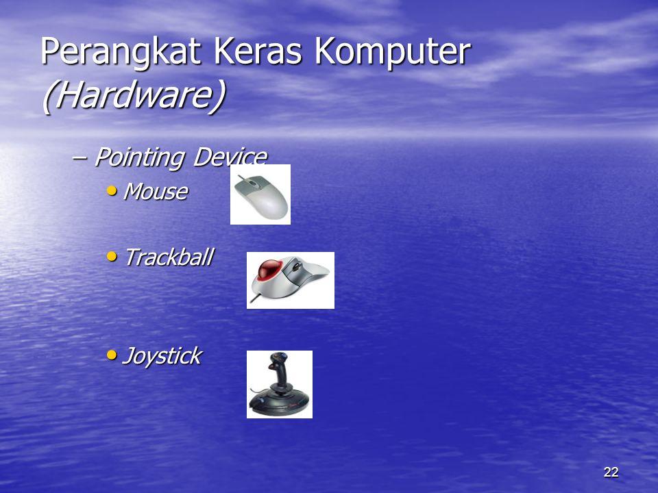22 Perangkat Keras Komputer (Hardware) –Pointing Device Mouse Mouse Trackball Trackball Joystick Joystick