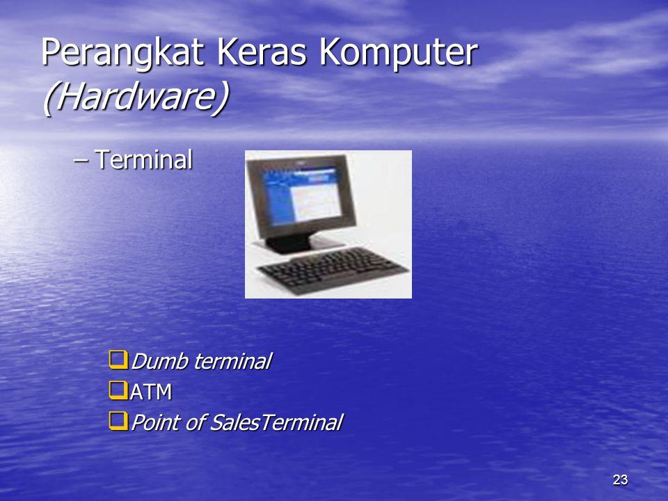 23 Perangkat Keras Komputer (Hardware) –Terminal  Dumb terminal  ATM  Point of SalesTerminal