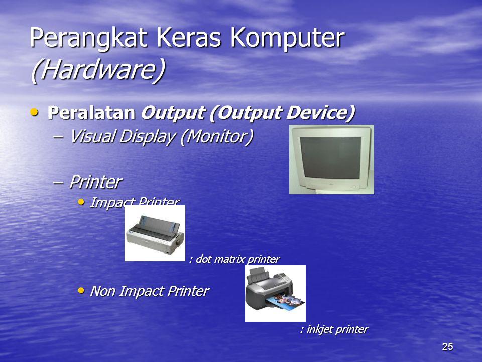 25 Perangkat Keras Komputer (Hardware) Peralatan Output (Output Device) Peralatan Output (Output Device) –Visual Display (Monitor) –Printer Impact Pri