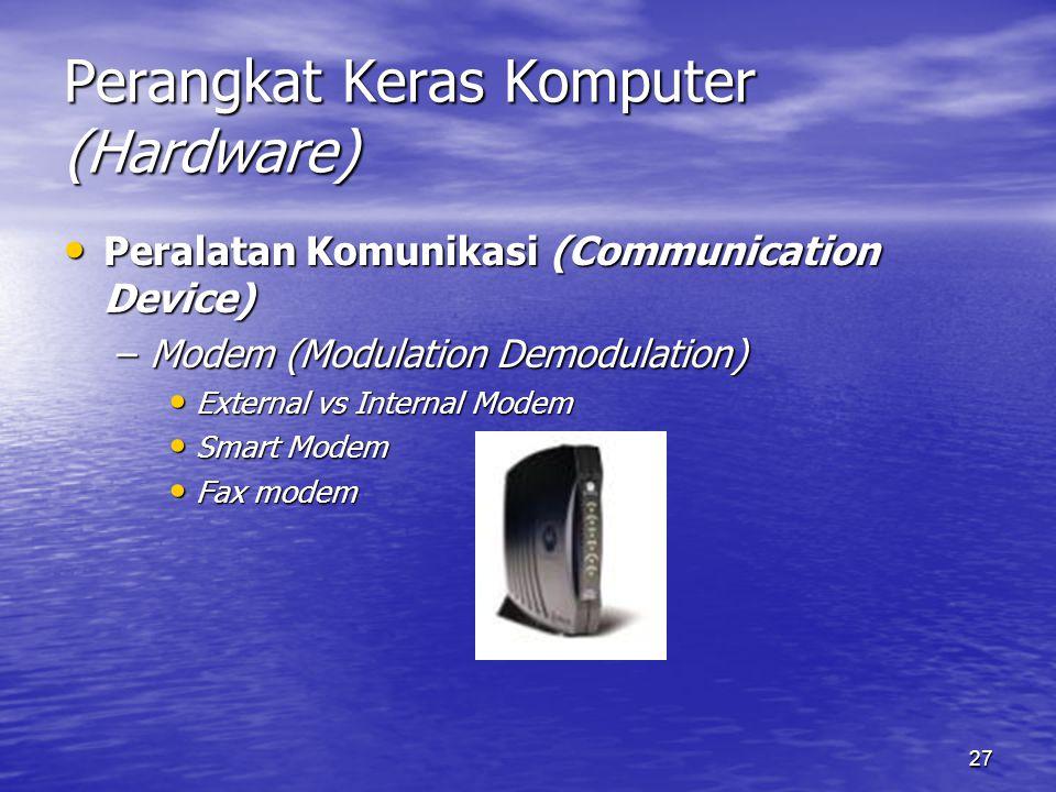 27 Perangkat Keras Komputer (Hardware) Peralatan Komunikasi (Communication Device) Peralatan Komunikasi (Communication Device) –Modem (Modulation Demo