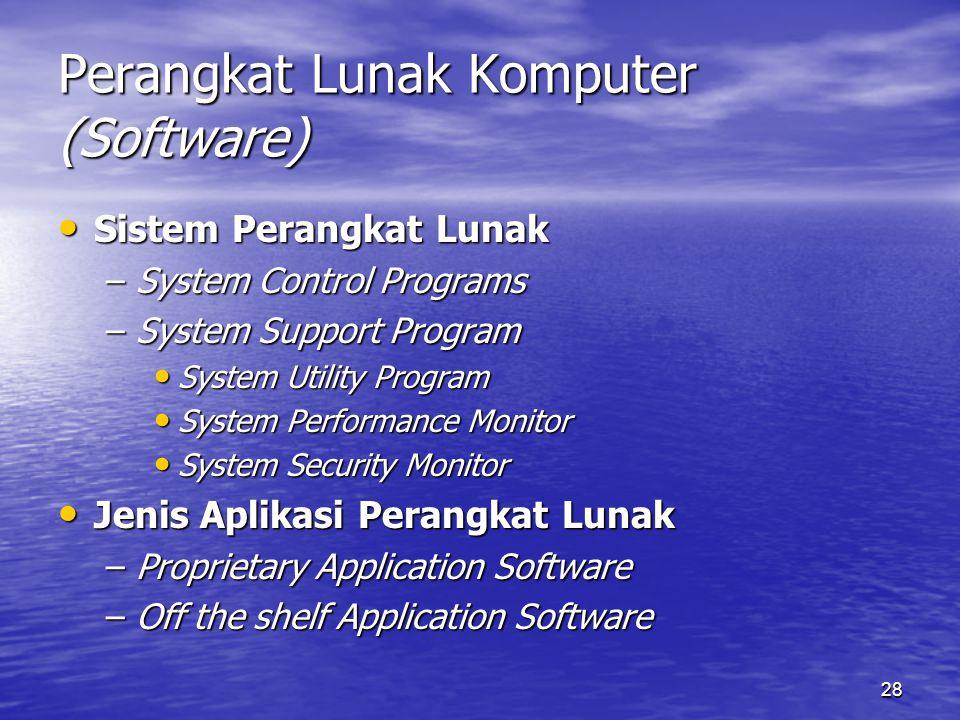 28 Perangkat Lunak Komputer (Software) Sistem Perangkat Lunak Sistem Perangkat Lunak –System Control Programs –System Support Program System Utility P